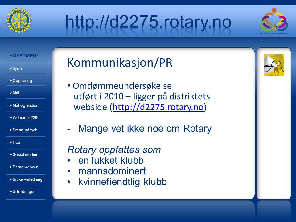 Kommunikasjon/PR Omdømmeundersøkelse utført i 2010 – ligger på distriktets webside (http://d2275.rotary.no)http://d2275.rotary.no -Mange vet ikke noe om Rotary Rotary oppfattes som en lukket klubb mannsdominert kvinnefiendtlig klubb HOVEDMENY  Hjem  Opplæring  Mål  Mål og status  Websider 2280  Smart på web  Tips  Sosial medier  Demo webwiz  Brukerveiledning  Utfordringen