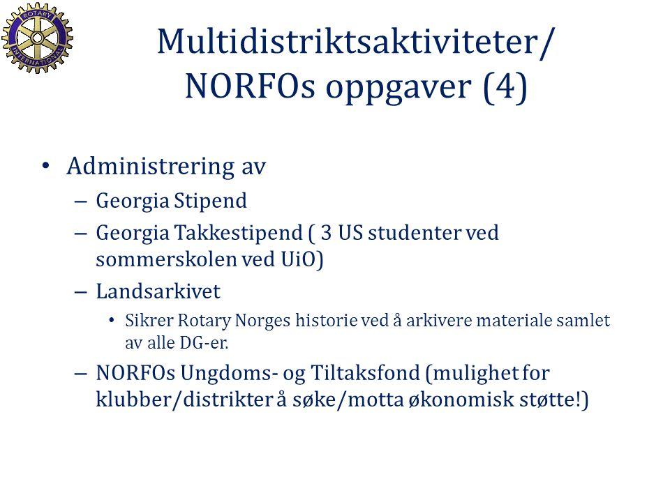 Multidistriktsaktiviteter/ NORFOs oppgaver (4) Administrering av – Georgia Stipend – Georgia Takkestipend ( 3 US studenter ved sommerskolen ved UiO) –