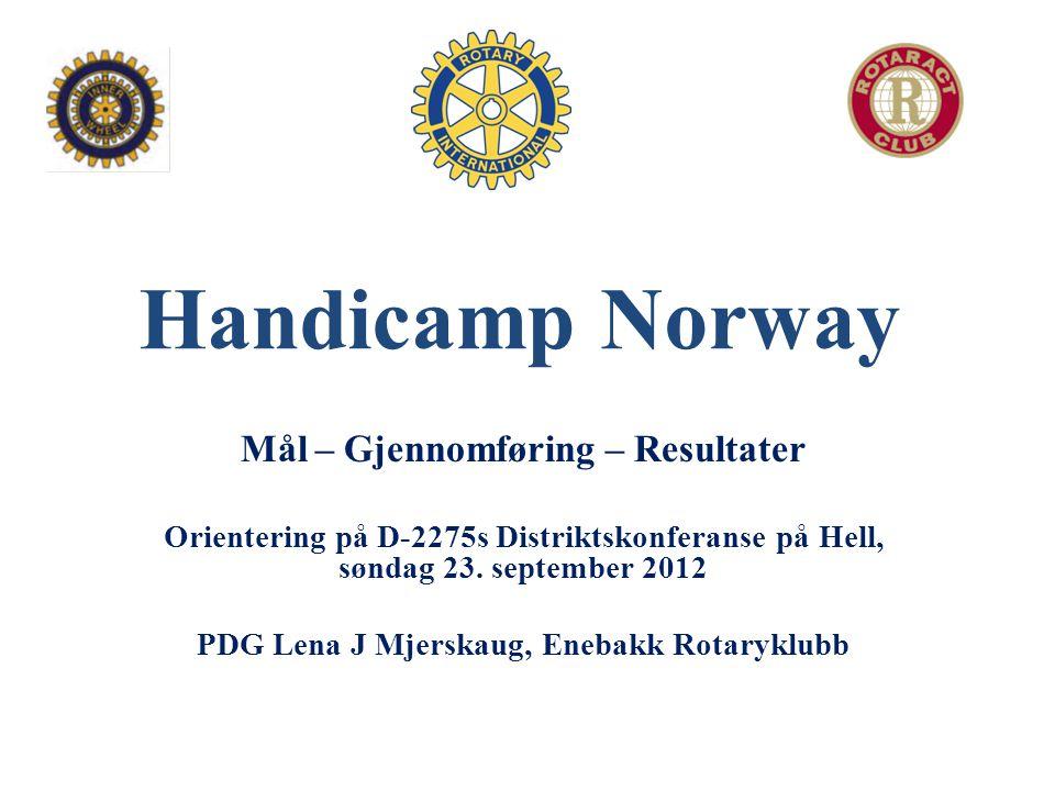 Handicamp Norway Mål – Gjennomføring – Resultater Orientering på D-2275s Distriktskonferanse på Hell, søndag 23. september 2012 PDG Lena J Mjerskaug,