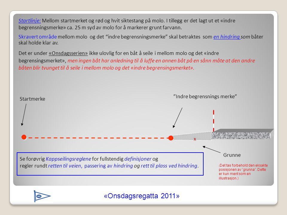 Startlinje: Mellom startmerket og rød og hvit siktestang på molo. I tillegg er det lagt ut et «indre begrensningsmerke» ca. 25 m syd av molo for å mar