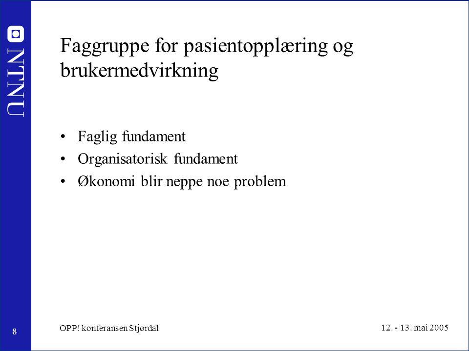 9 12.- 13. mai 2005 OPP. konferansen Stjørdal Referat fra møtet 13 mai kl.