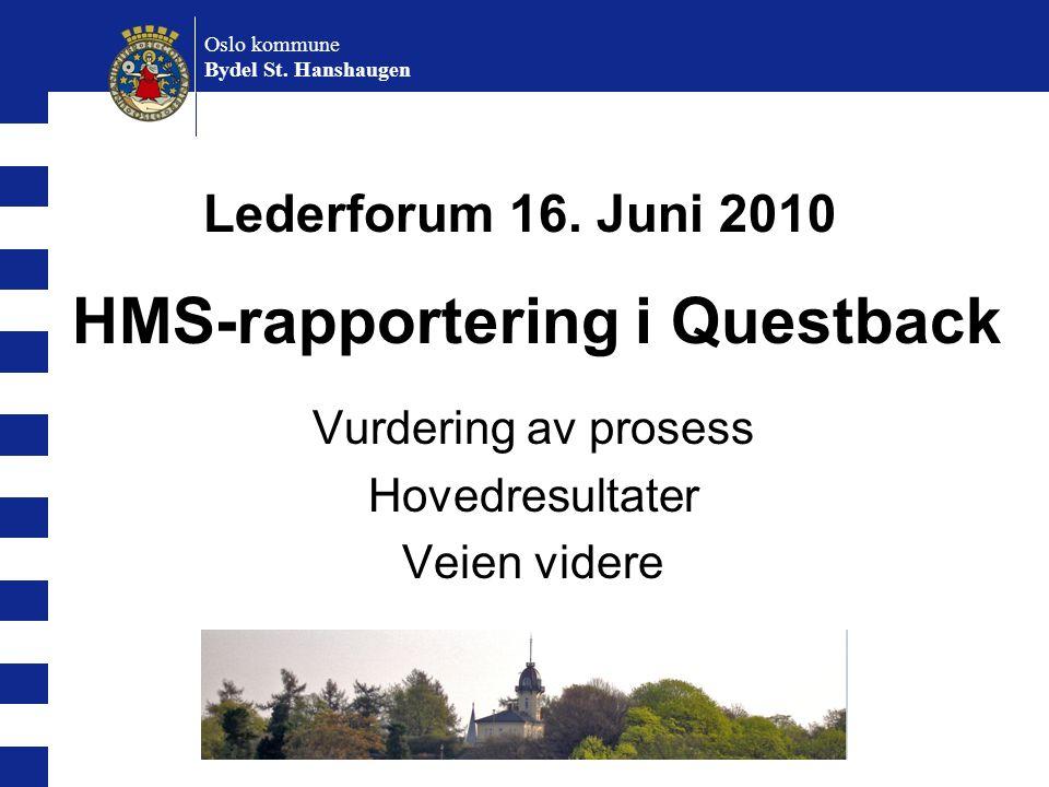 Oslo kommune Bydel St. Hanshaugen Vurdering av prosess Hovedresultater Veien videre HMS-rapportering i Questback Lederforum 16. Juni 2010