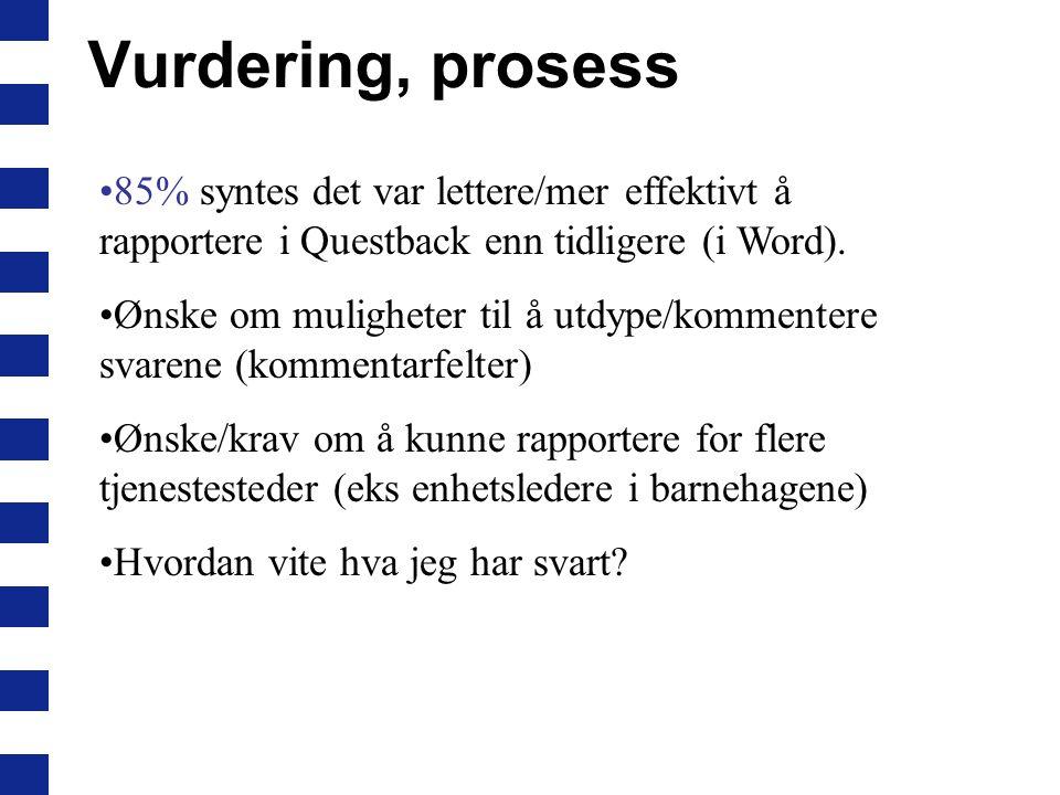 Vurdering, prosess 85% syntes det var lettere/mer effektivt å rapportere i Questback enn tidligere (i Word). Ønske om muligheter til å utdype/kommente