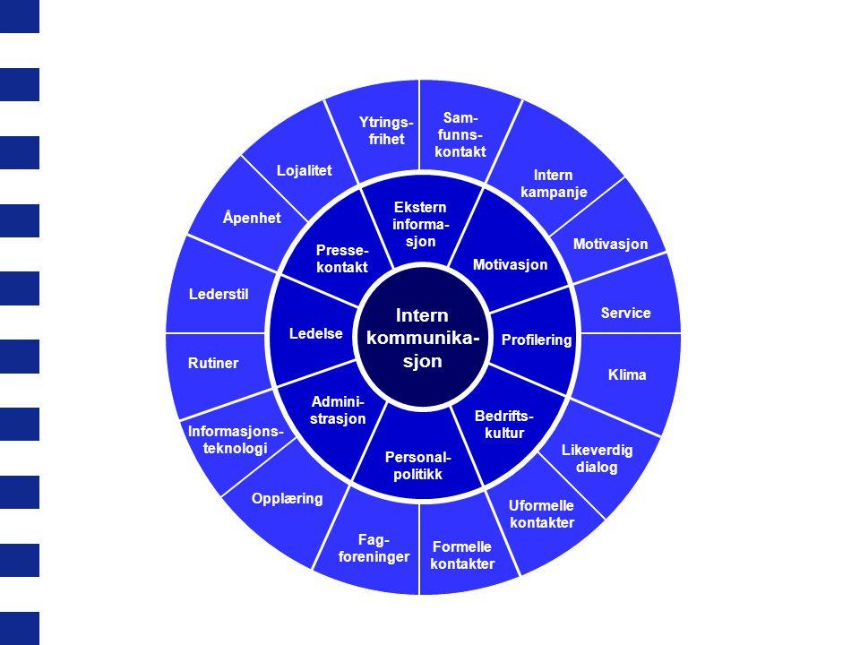 Intern kommunika- sjon Sam- funns- kontakt Ytrings- frihet Lojalitet Åpenhet Lederstil Rutiner Informasjons- teknologi Opplæring Fag- foreninger Forme