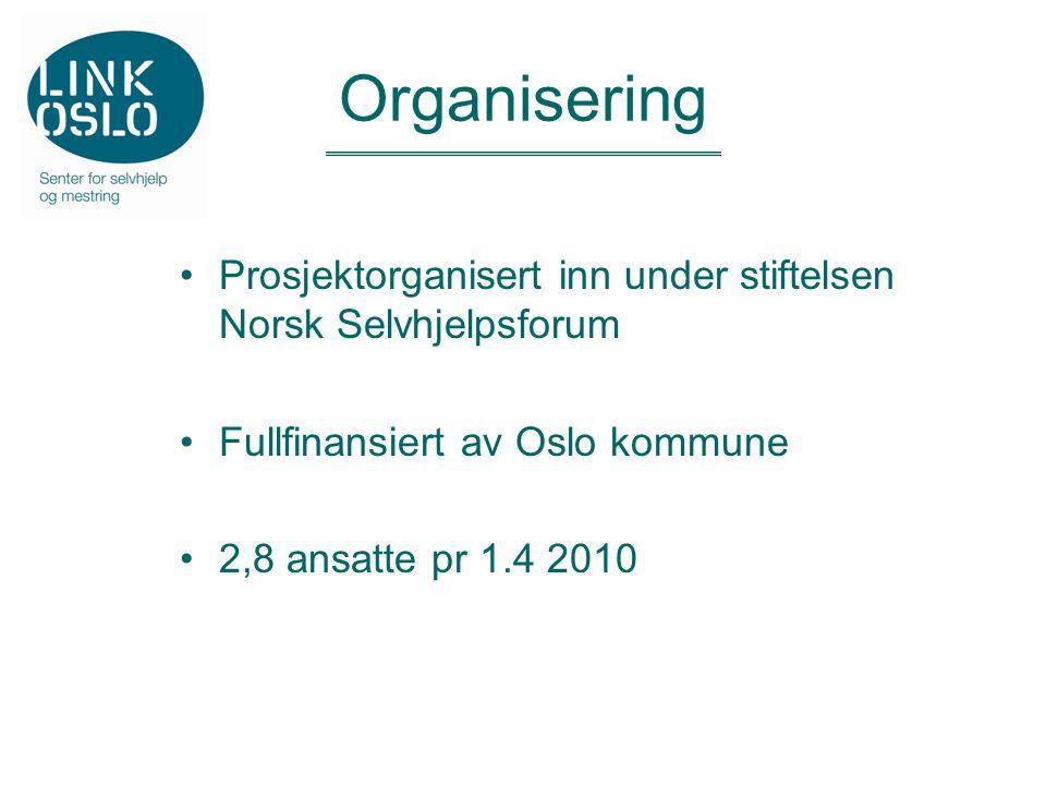 Organisering Prosjektorganisert inn under stiftelsen Norsk Selvhjelpsforum Fullfinansiert av Oslo kommune 2,8 ansatte pr 1.4 2010