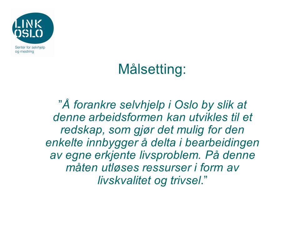 Målsetting: Å forankre selvhjelp i Oslo by slik at denne arbeidsformen kan utvikles til et redskap, som gjør det mulig for den enkelte innbygger å delta i bearbeidingen av egne erkjente livsproblem.
