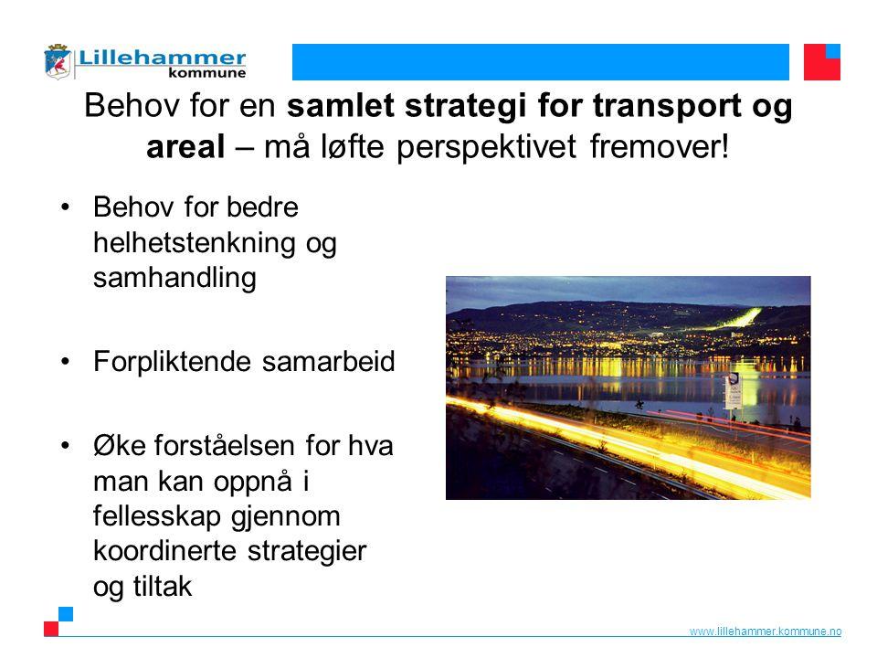 www.lillehammer.kommune.no Behov for en samlet strategi for transport og areal – må løfte perspektivet fremover.