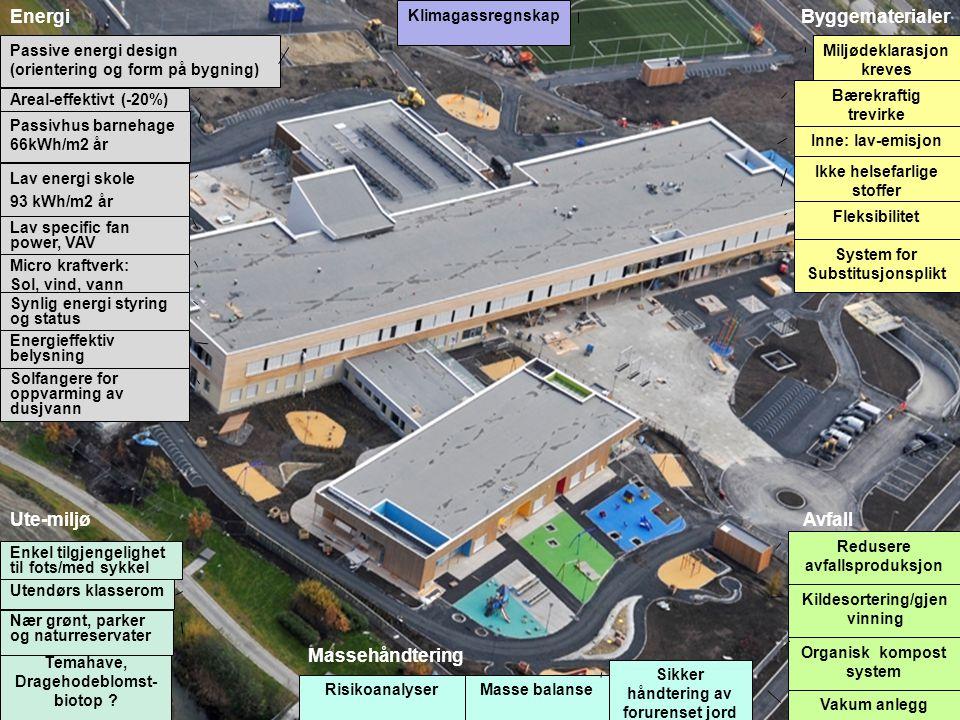 Fleksibilitet Synlig energi styring og status Utendørs klasserom Temahave, Dragehodeblomst- biotop ? Risikoanalyser Micro kraftverk: Sol, vind, vann S