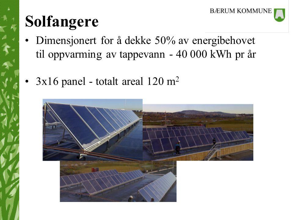 Solfangere Dimensjonert for å dekke 50% av energibehovet til oppvarming av tappevann - 40 000 kWh pr år 3x16 panel - totalt areal 120 m 2