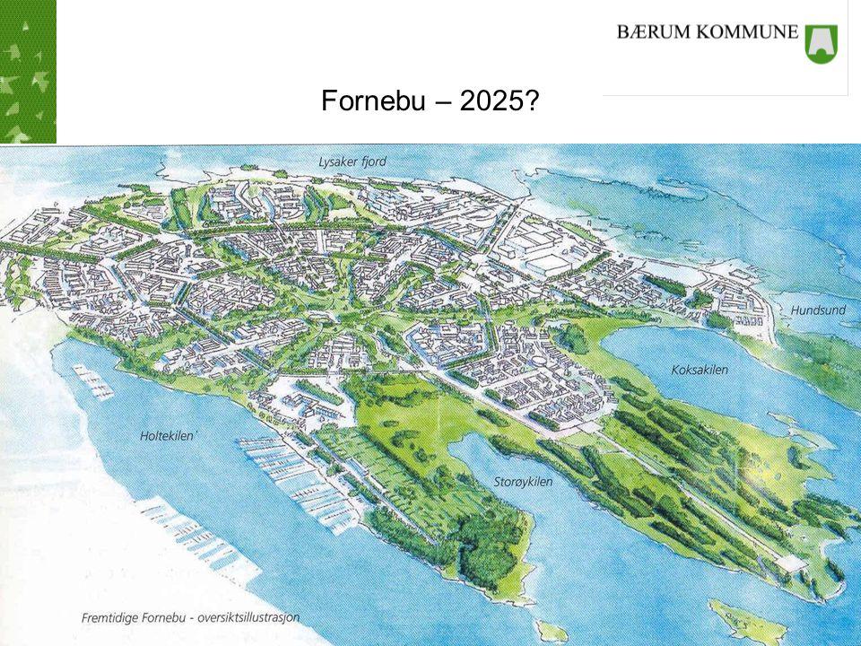 FORNEBU: DIAMETER = 2 KM Boliger 6 000 Innbyggere 12-20 000 Arbeidsplasser 20 000 Areal 3 400 daa Friluftsområder 350 daa Verneområder 160 daa Alle bygg tilkoples fjernvarmeanlegg basert på sjøvann