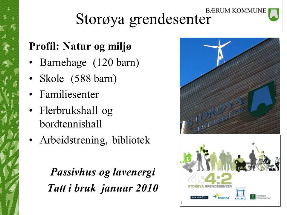 Storøya grendesenter Profil: Natur og miljø Barnehage (120 barn) Skole (588 barn) Familiesenter Flerbrukshall og bordtennishall Arbeidstrening, biblio