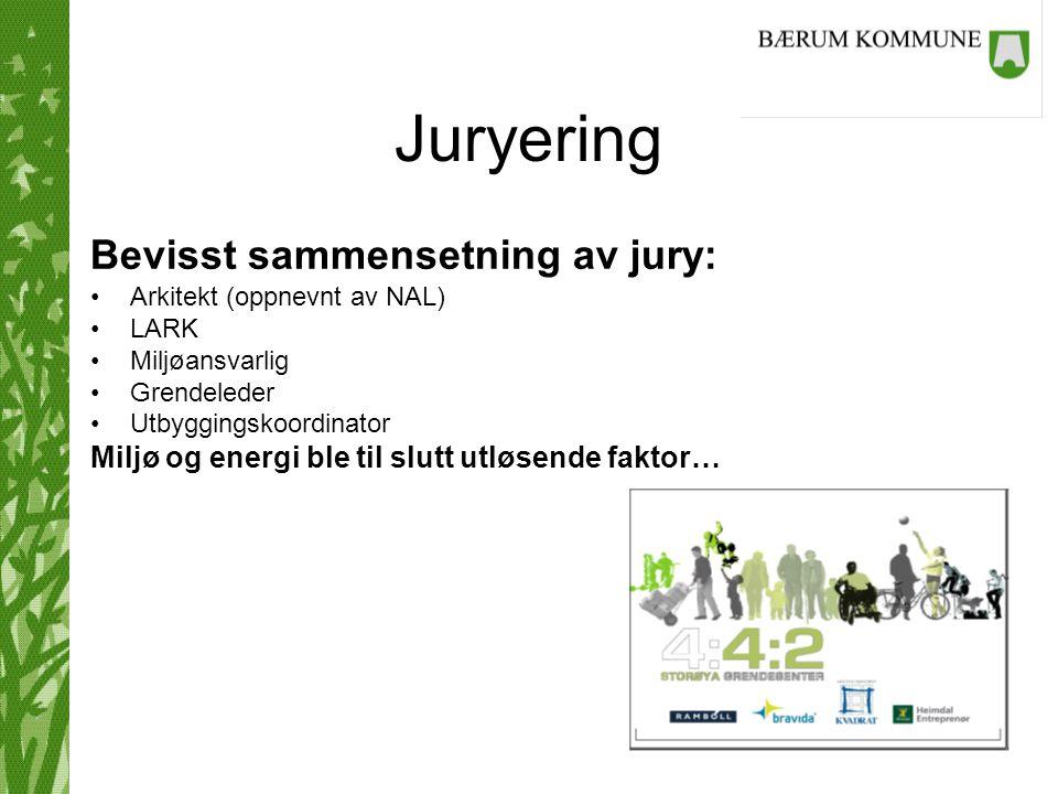 Juryering Bevisst sammensetning av jury: Arkitekt (oppnevnt av NAL) LARK Miljøansvarlig Grendeleder Utbyggingskoordinator Miljø og energi ble til slut