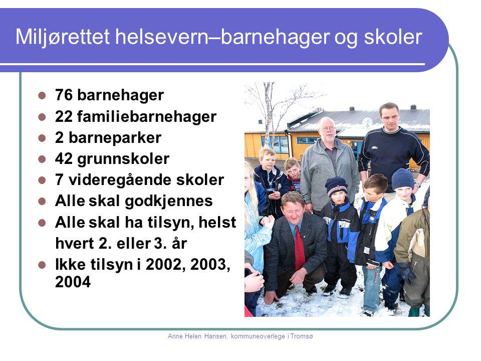 Miljørettet helsevern–barnehager og skoler 76 barnehager 22 familiebarnehager 2 barneparker 42 grunnskoler 7 videregående skoler Alle skal godkjennes