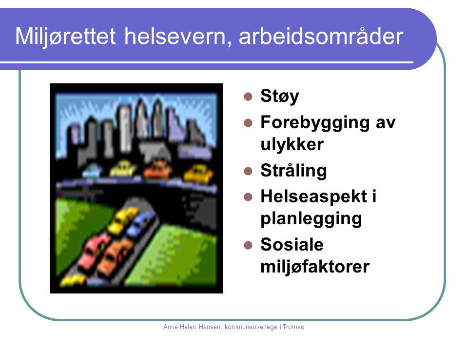Miljørettet helsevern, arbeidsområder Støy Forebygging av ulykker Stråling Helseaspekt i planlegging Sosiale miljøfaktorer Anne Helen Hansen, kommuneo