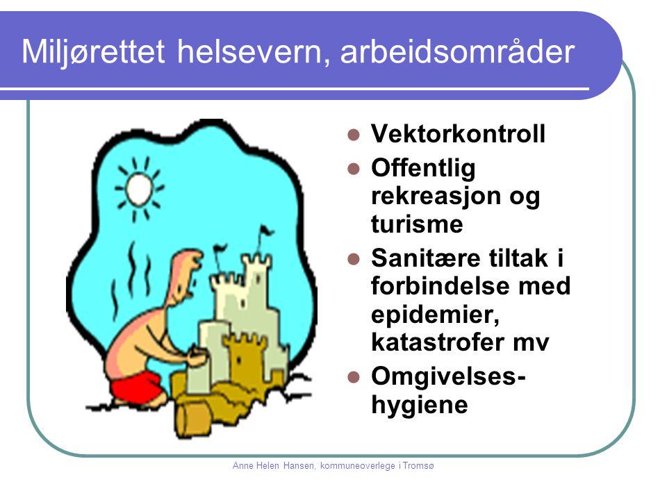 Miljørettet helsevern, arbeid og virkemidler Holde oversikt over positive og negative faktorer i miljøet Vurdere faktorenes innvirkning på helsa Komme med forslag til tiltak som er helsefremmende, forebyggende eller avbøtende Behandle klager fra publikum Rådgivning Anne Helen Hansen, kommuneoverlege i Tromsø