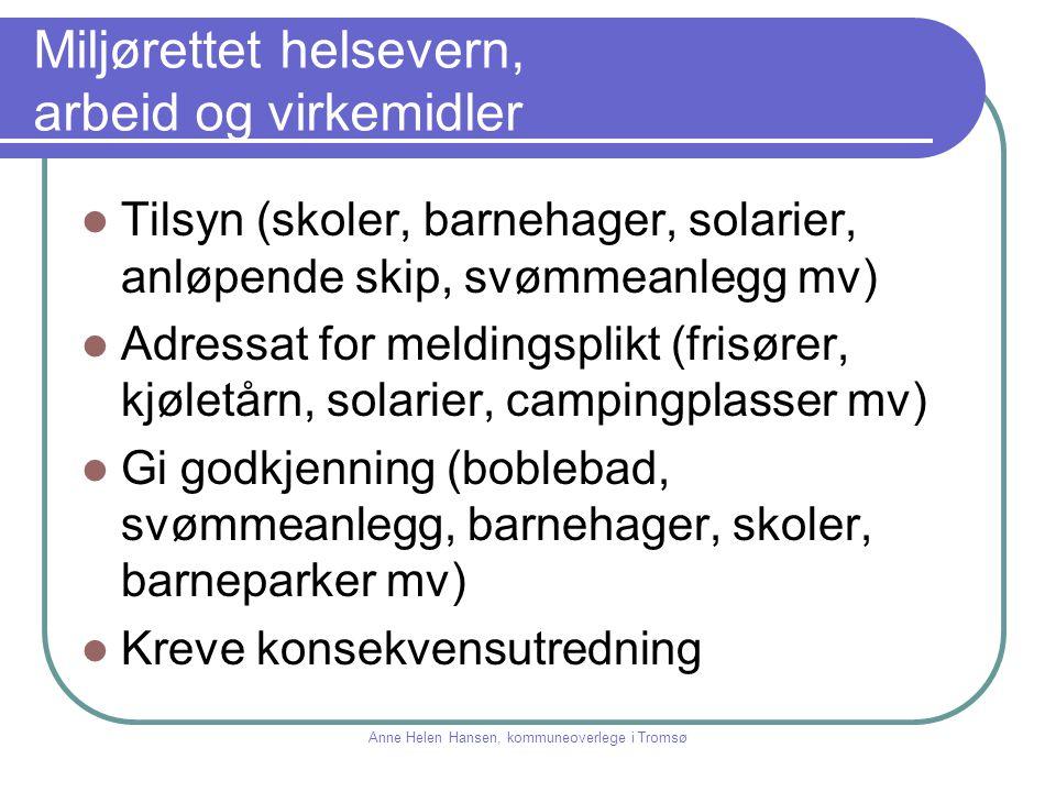 Miljørettet helsevern En moderne kommune Samarbeid Kvalitet Langsiktighet Anne Helen Hansen, kommuneoverlege i Tromsø