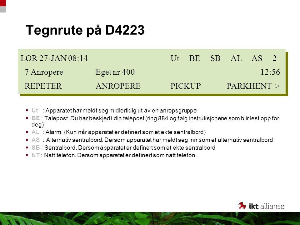 Tegnrute på D4223  Ut : Apparatet har meldt seg midlertidig ut av en anropsgruppe  BE : Talepost. Du har beskjed i din talepost (ring 884 og følg in