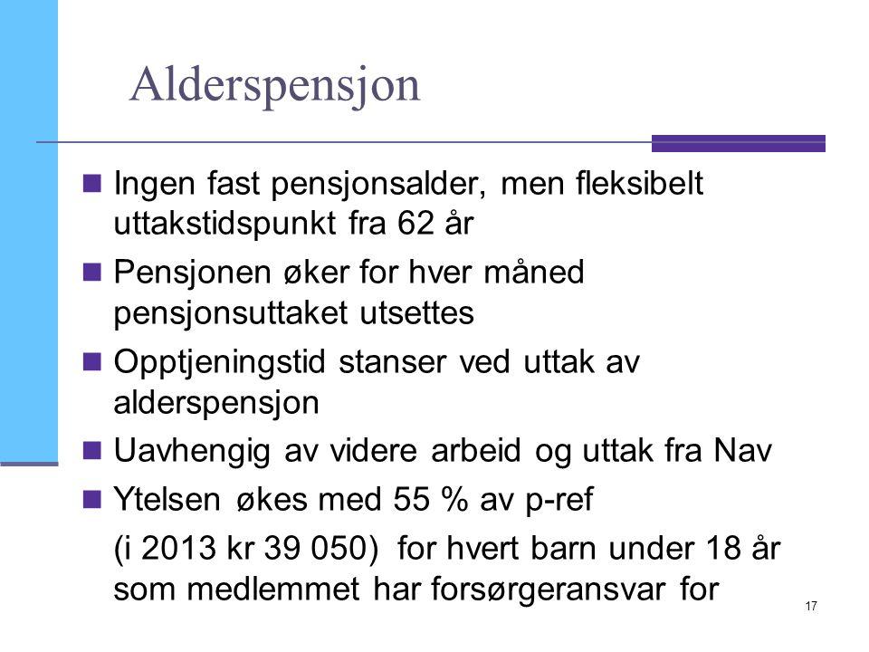 17 Alderspensjon Ingen fast pensjonsalder, men fleksibelt uttakstidspunkt fra 62 år Pensjonen øker for hver måned pensjonsuttaket utsettes Opptjenings