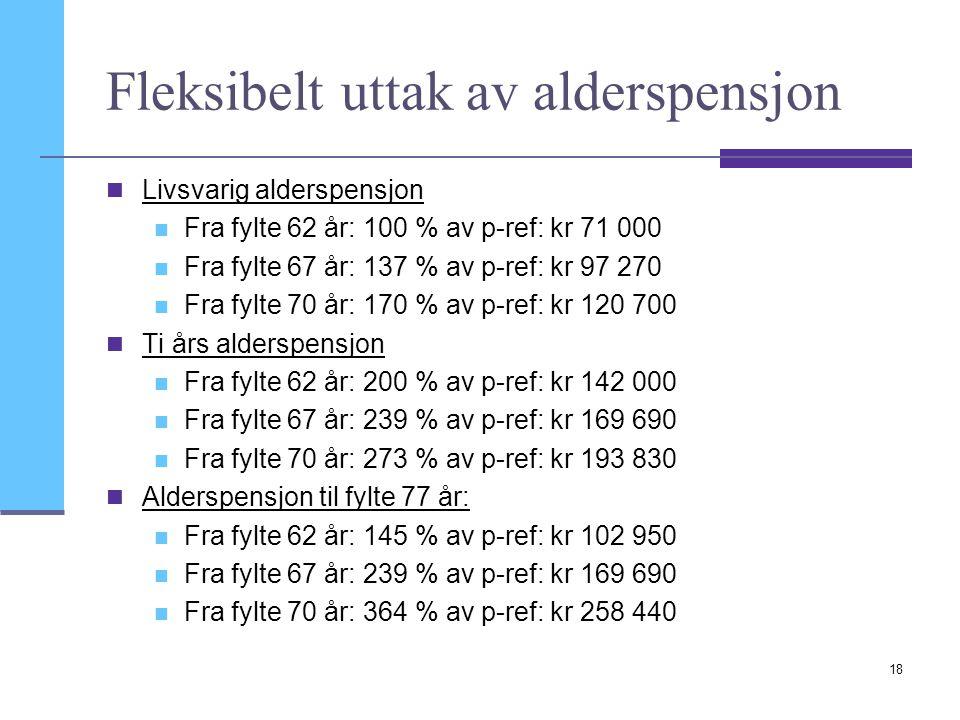 18 Fleksibelt uttak av alderspensjon Livsvarig alderspensjon Fra fylte 62 år: 100 % av p-ref: kr 71 000 Fra fylte 67 år: 137 % av p-ref: kr 97 270 Fra