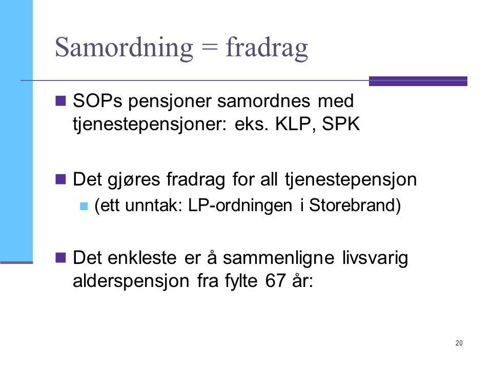 Samordning = fradrag SOPs pensjoner samordnes med tjenestepensjoner: eks. KLP, SPK Det gjøres fradrag for all tjenestepensjon (ett unntak: LP-ordninge