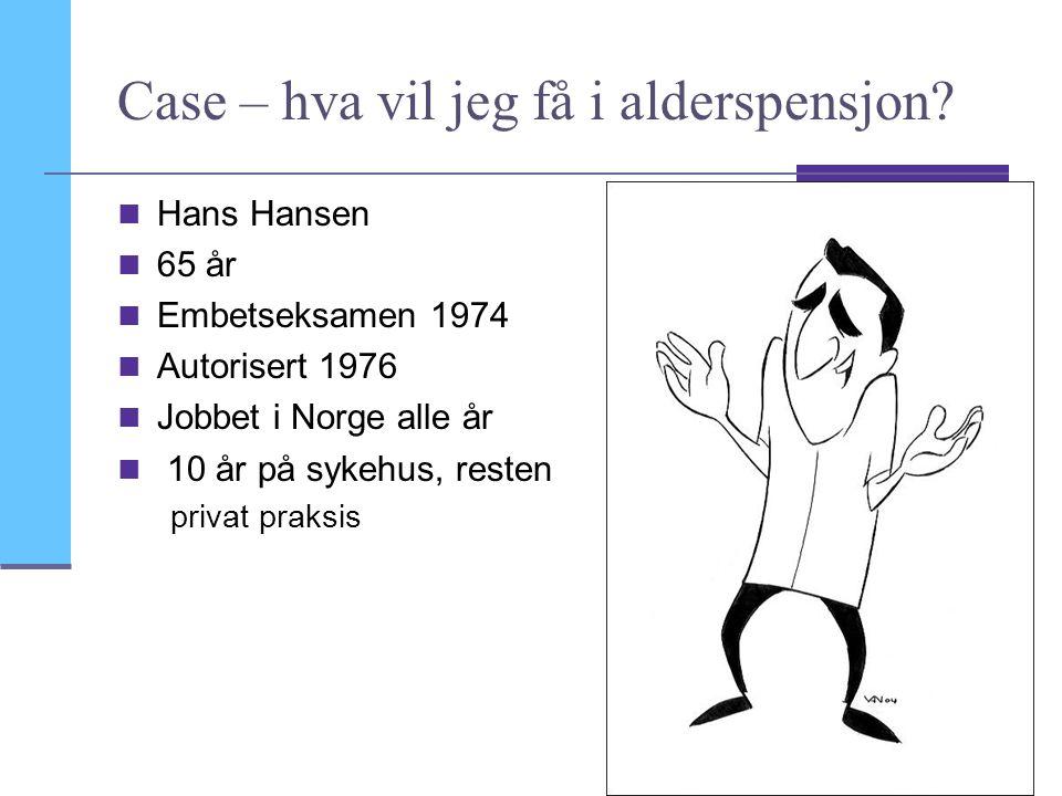 21 Case – hva vil jeg få i alderspensjon? Hans Hansen 65 år Embetseksamen 1974 Autorisert 1976 Jobbet i Norge alle år 10 år på sykehus, resten privat