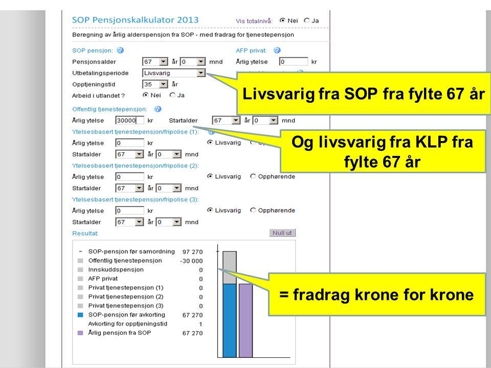 22 Livsvarig fra SOP fra fylte 67 år Og livsvarig fra KLP fra fylte 67 år = fradrag krone for krone