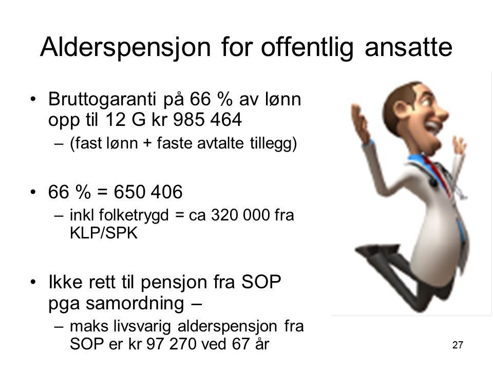 27 Alderspensjon for offentlig ansatte Bruttogaranti på 66 % av lønn opp til 12 G kr 985 464 –(fast lønn + faste avtalte tillegg) 66 % = 650 406 –inkl