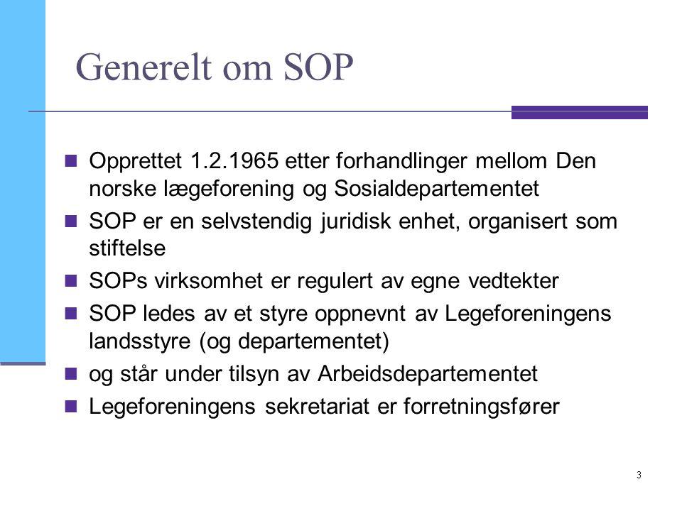 3 Generelt om SOP Opprettet 1.2.1965 etter forhandlinger mellom Den norske lægeforening og Sosialdepartementet SOP er en selvstendig juridisk enhet, o