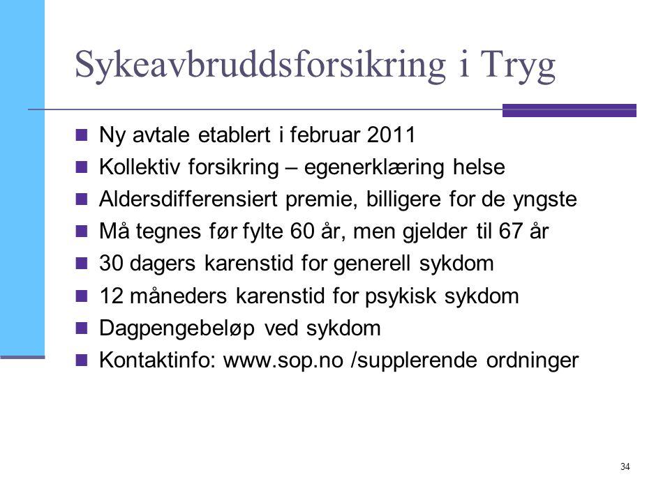 34 Sykeavbruddsforsikring i Tryg Ny avtale etablert i februar 2011 Kollektiv forsikring – egenerklæring helse Aldersdifferensiert premie, billigere fo