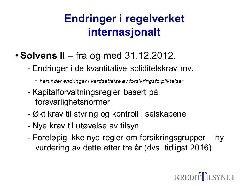 Endringer i regelverket internasjonalt Solvens II – fra og med 31.12.2012.