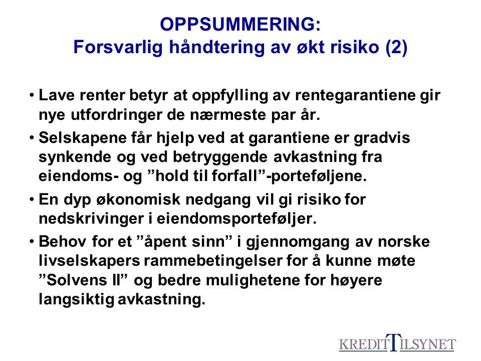 OPPSUMMERING: Forsvarlig håndtering av økt risiko (2) Lave renter betyr at oppfylling av rentegarantiene gir nye utfordringer de nærmeste par år.