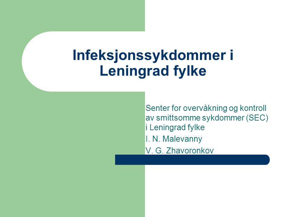 Infeksjonssykdommer i Leningrad fylke Senter for overvåkning og kontroll av smittsomme sykdommer (SEC) i Leningrad fylke I.
