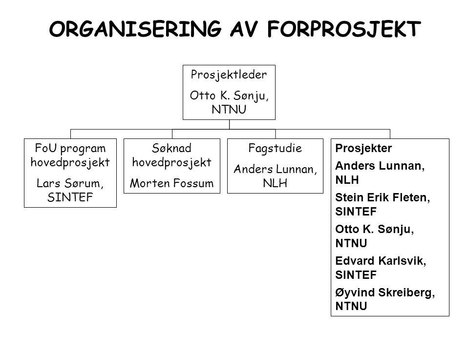 ORGANISERING AV FORPROSJEKT Prosjektleder Otto K. Sønju, NTNU FoU program hovedprosjekt Lars Sørum, SINTEF Søknad hovedprosjekt Morten Fossum Fagstudi