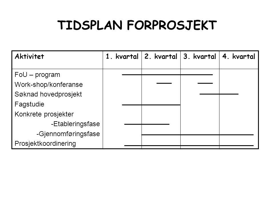 TIDSPLAN FORPROSJEKT Aktivitet1. kvartal2. kvartal3. kvartal4. kvartal FoU – program Work-shop/konferanse Søknad hovedprosjekt Fagstudie Konkrete pros