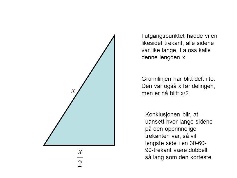 I utgangspunktet hadde vi en likesidet trekant, alle sidene var like lange. La oss kalle denne lengden x Grunnlinjen har blitt delt i to. Den var også