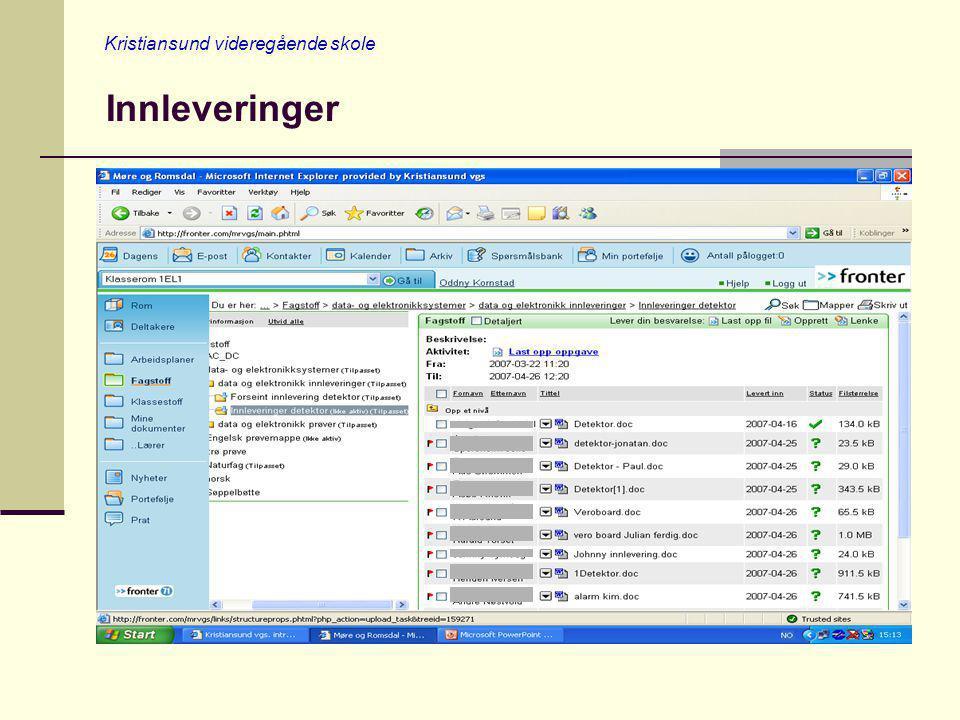 Kristiansund videregående skole Vurdering av innleveringer