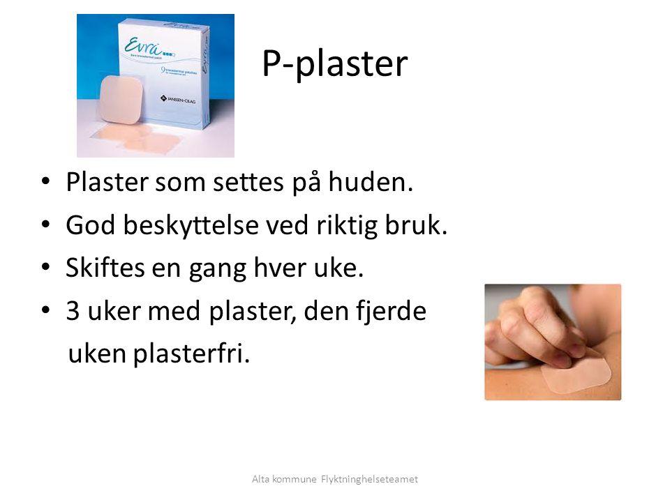 Alta kommune Flyktninghelseteamet P-plaster Plaster som settes på huden.