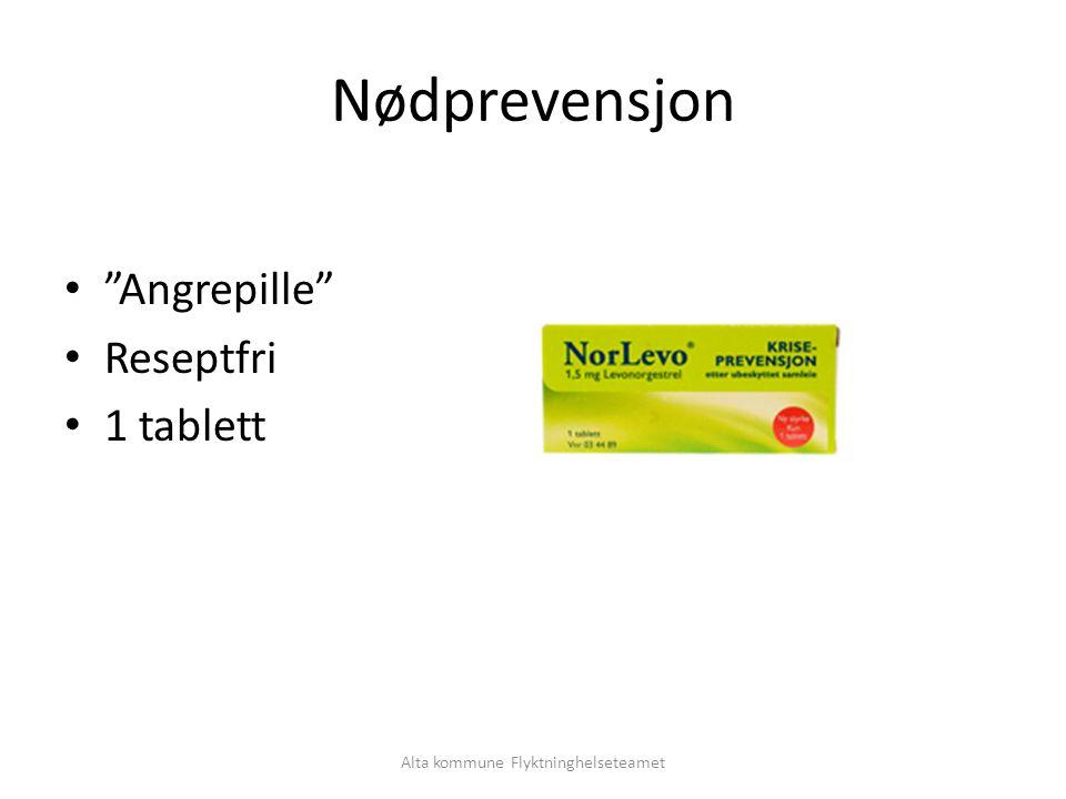 Alta kommune Flyktninghelseteamet Nødprevensjon Angrepille Reseptfri 1 tablett