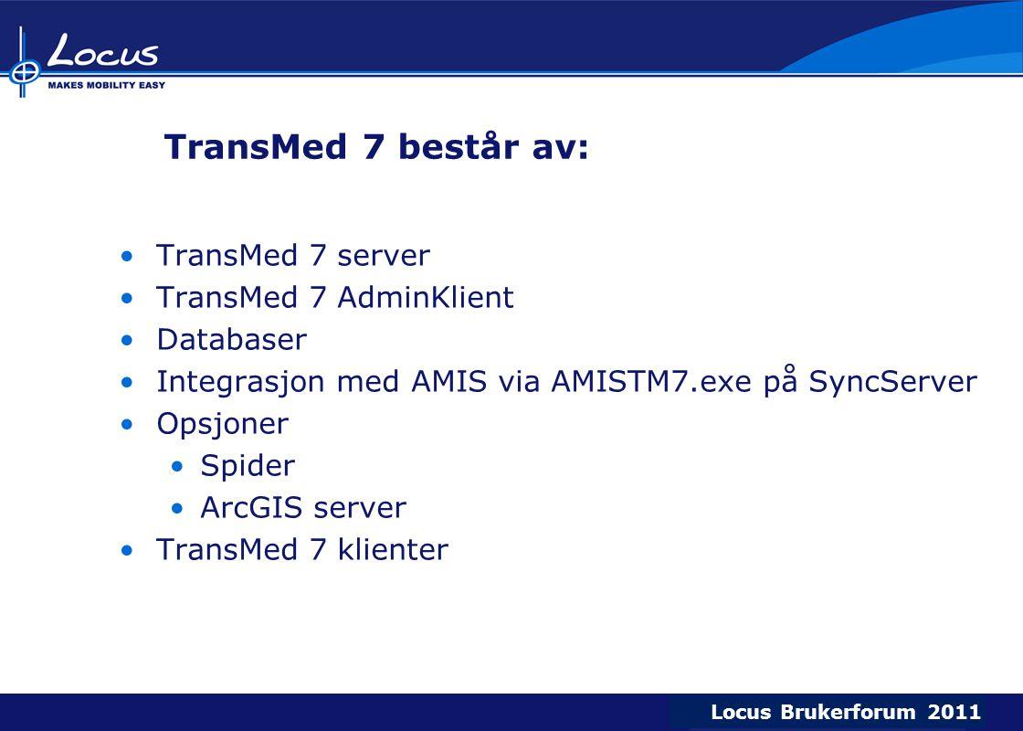 Locus Brukerforum 2009 Locus Brukerforum 2010 Locus Brukerforum 2011 TransMed 7 består av: TransMed 7 server TransMed 7 AdminKlient Databaser Integrasjon med AMIS via AMISTM7.exe på SyncServer Opsjoner Spider ArcGIS server TransMed 7 klienter
