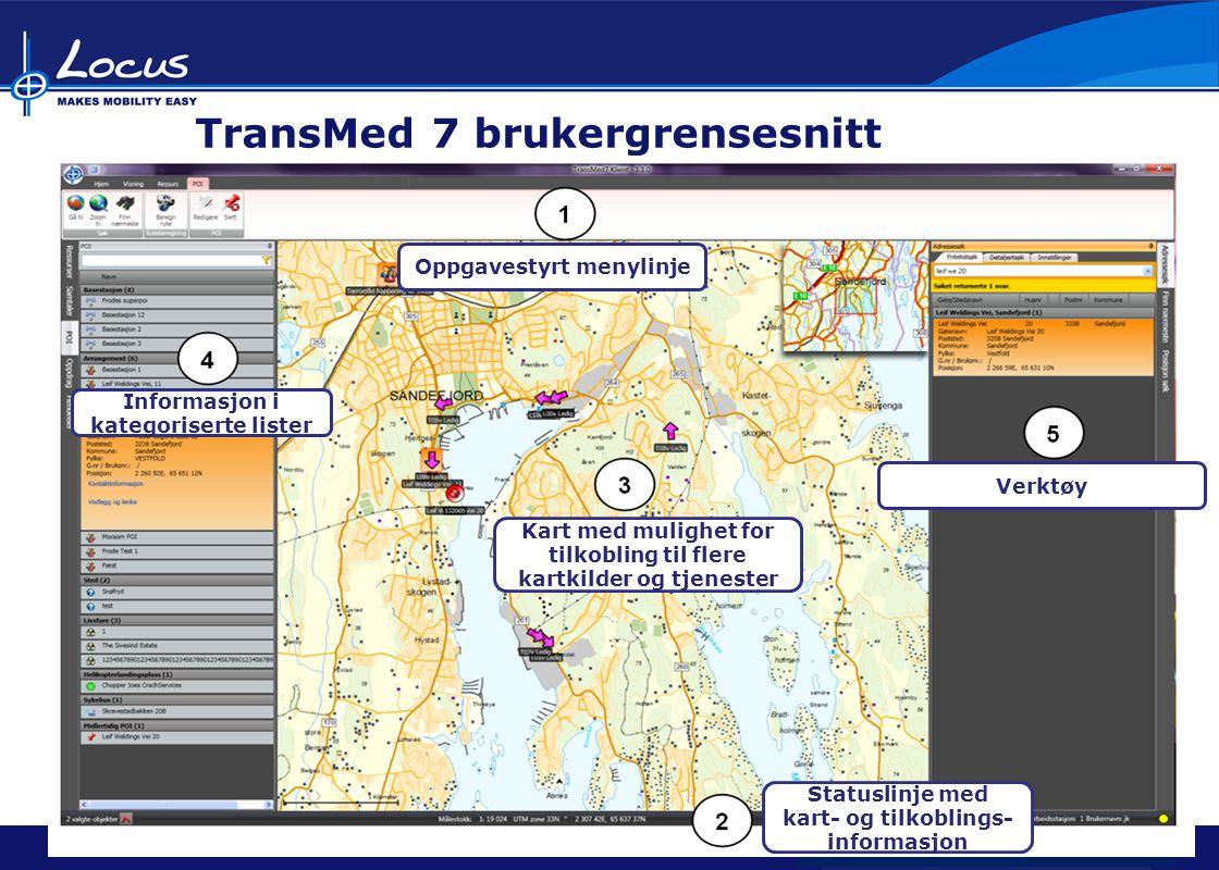 Locus Brukerforum 2009 Locus Brukerforum 2010 Locus Brukerforum 2011 TransMed 7 brukergrensesnitt Oppgavestyrt menylinje Statuslinje med kart- og tilkoblings- informasjon Kart med mulighet for tilkobling til flere kartkilder og tjenester Informasjon i kategoriserte lister Verktøy