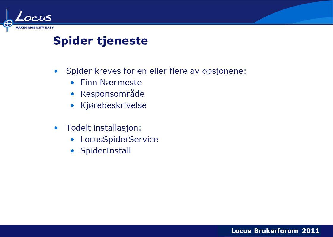 Locus Brukerforum 2009 Locus Brukerforum 2010 Locus Brukerforum 2011 Spider tjeneste Spider kreves for en eller flere av opsjonene: Finn Nærmeste Responsområde Kjørebeskrivelse Todelt installasjon: LocusSpiderService SpiderInstall