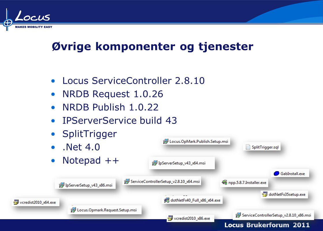 Locus Brukerforum 2009 Locus Brukerforum 2010 Locus Brukerforum 2011 Øvrige komponenter og tjenester Locus ServiceController 2.8.10 NRDB Request 1.0.26 NRDB Publish 1.0.22 IPServerService build 43 SplitTrigger.Net 4.0 Notepad ++