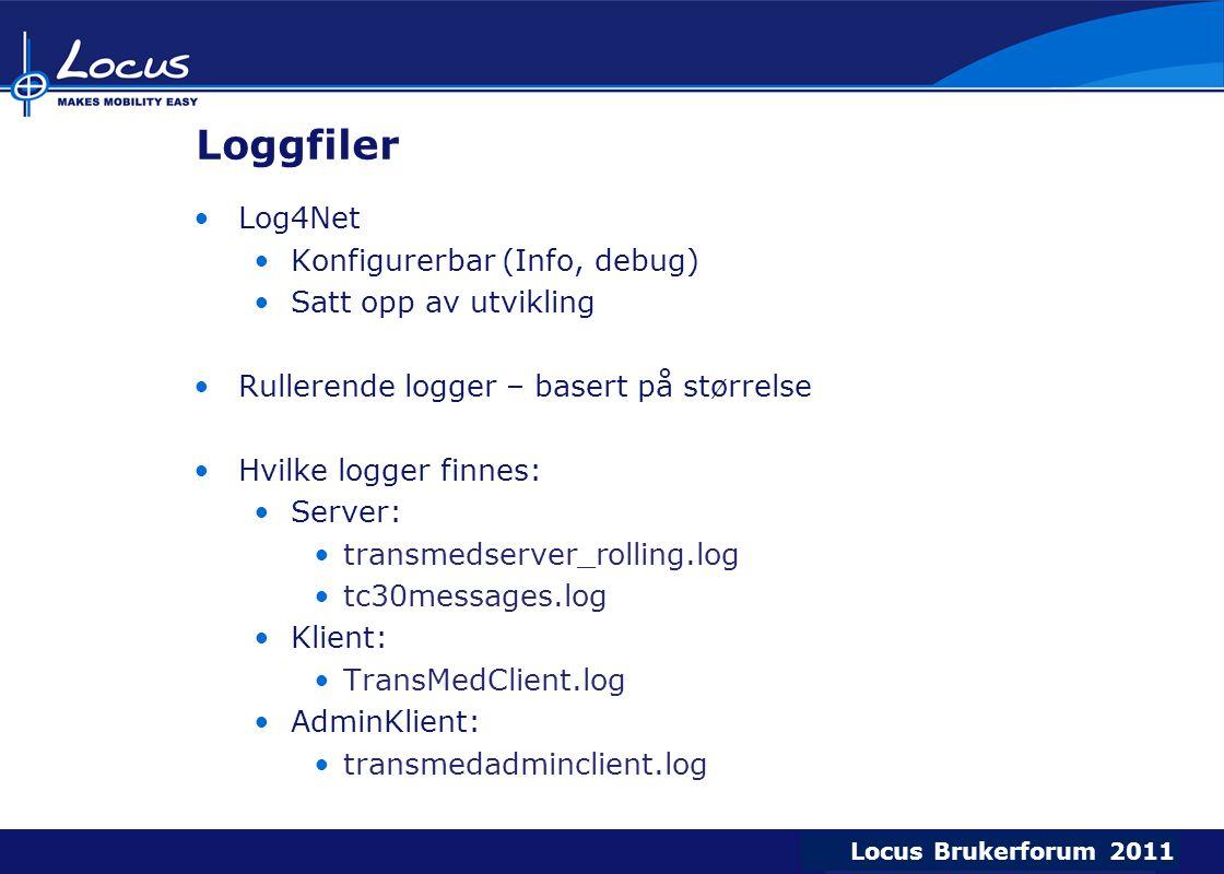 Locus Brukerforum 2009 Locus Brukerforum 2010 Locus Brukerforum 2011 Loggfiler Log4Net Konfigurerbar (Info, debug) Satt opp av utvikling Rullerende logger – basert på størrelse Hvilke logger finnes: Server: transmedserver_rolling.log tc30messages.log Klient: TransMedClient.log AdminKlient: transmedadminclient.log