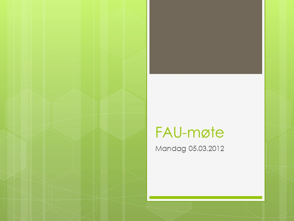 FAU-møte Mandag 05.03.2012