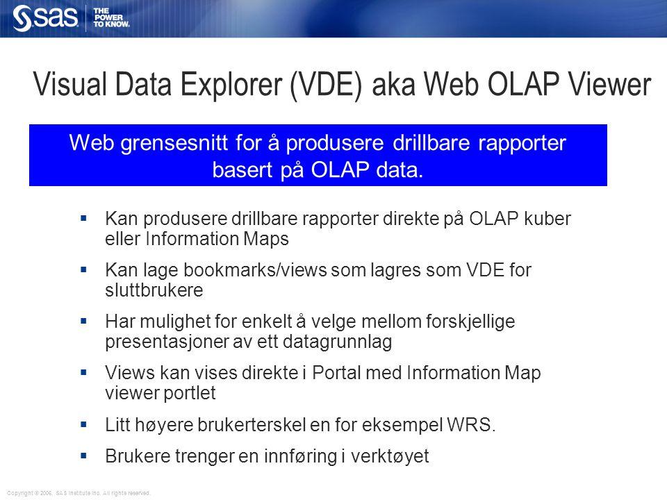 Visual Data Explorer (VDE) aka Web OLAP Viewer  Kan produsere drillbare rapporter direkte på OLAP kuber eller Information Maps  Kan lage bookmarks/v