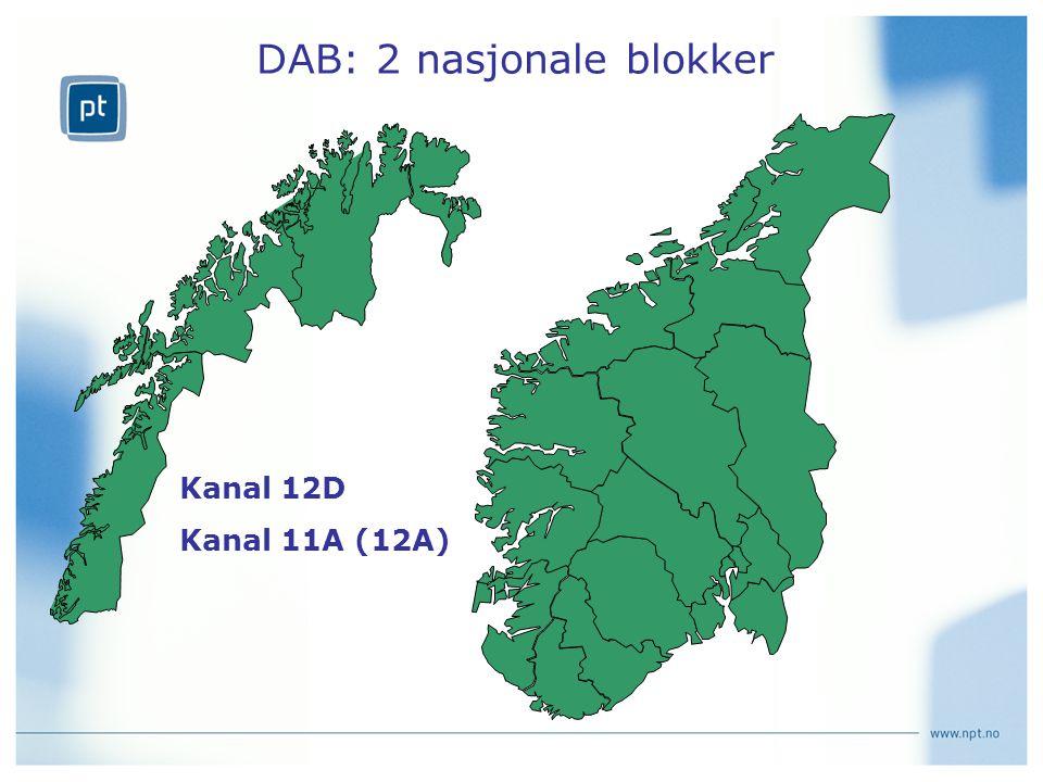 DAB: 2 nasjonale blokker Kanal 12D Kanal 11A (12A)