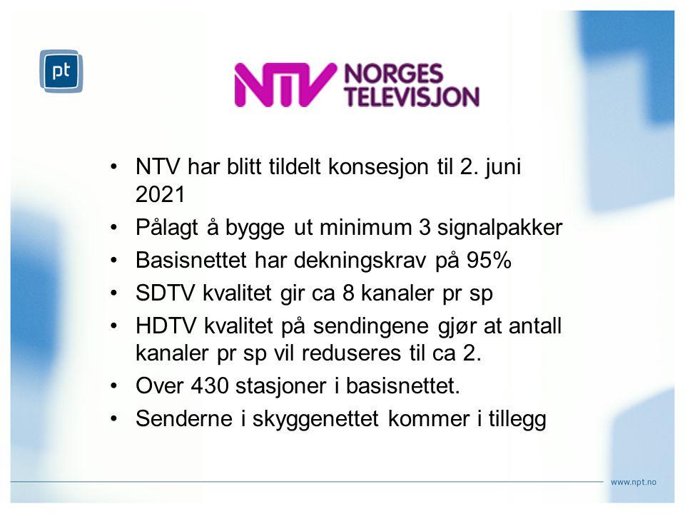 NTV har blitt tildelt konsesjon til 2.