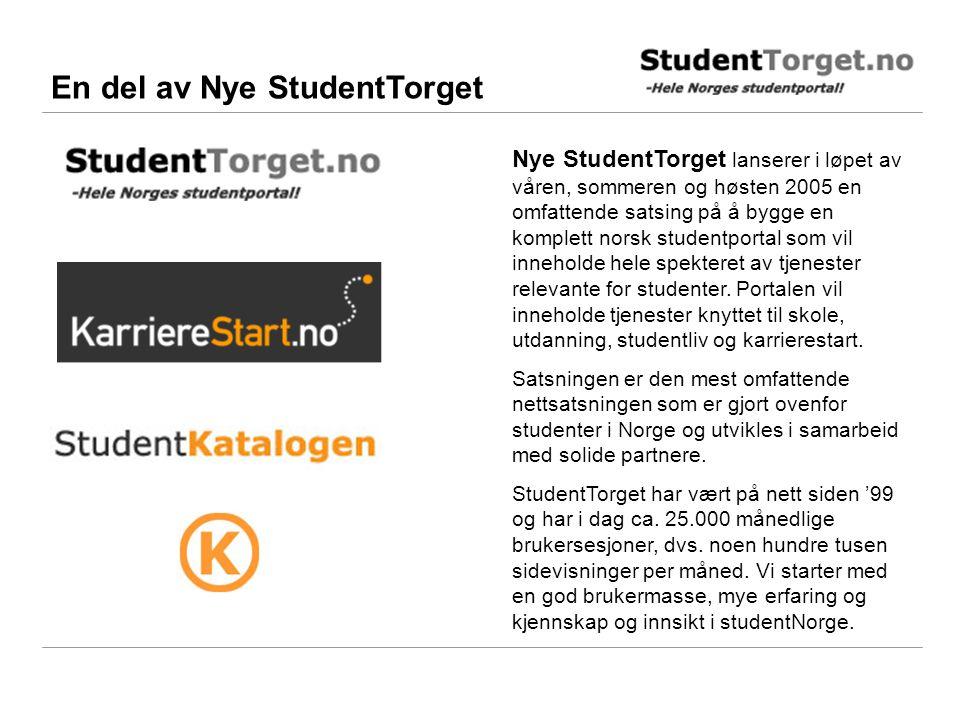 En del av Nye StudentTorget Nye StudentTorget lanserer i løpet av våren, sommeren og høsten 2005 en omfattende satsing på å bygge en komplett norsk studentportal som vil inneholde hele spekteret av tjenester relevante for studenter.