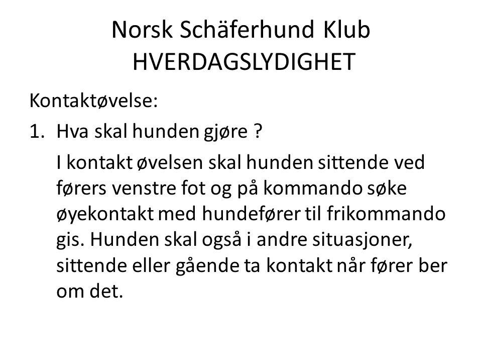 Norsk Schäferhund Klub HVERDAGSLYDIGHET Kontaktøvelse: 1.Hva skal hunden gjøre .