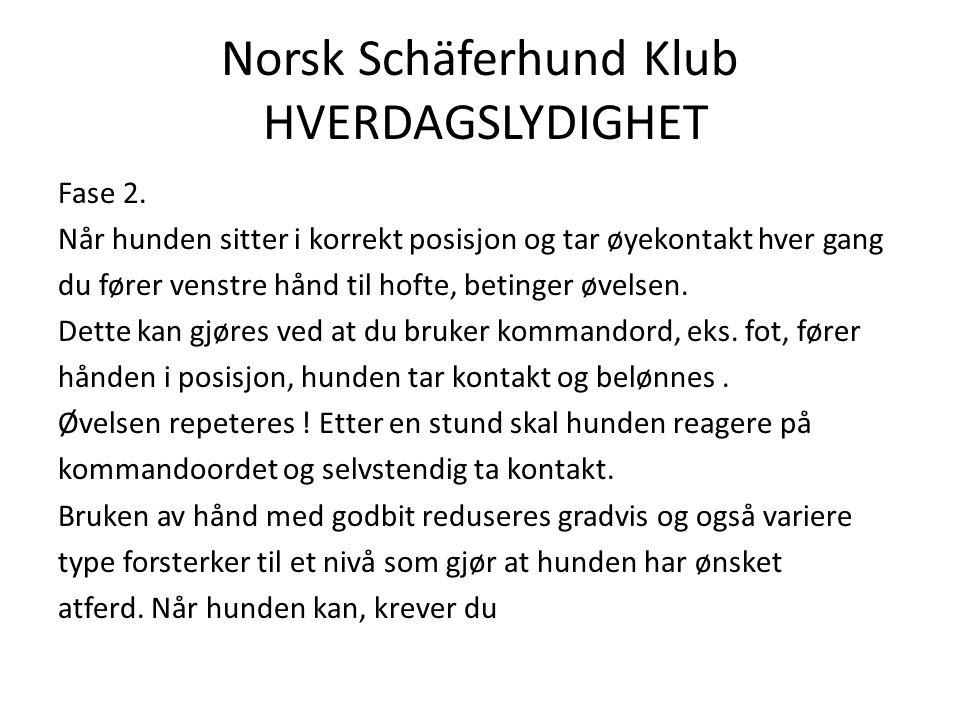 Norsk Schäferhund Klub HVERDAGSLYDIGHET Fase 2.